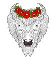 Bison head doodle vector image