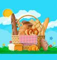 bread in wicker basket nature vector image vector image