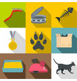 cat house icon set flat style vector image vector image