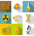 chemical icon set flat style vector image vector image