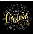 christmas card with sketch elements golden vector image vector image