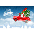 christmas character santa flying in car vector image