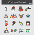 christmas festival icon set 6 flat colour design vector image