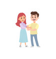 couple of young people man and woman hold hands o vector image