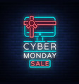 cyber monday banner in fashionable neon vector image vector image