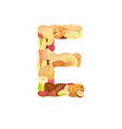 delicious letter made from different nuts e vector image vector image