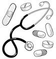 doodle doctor medical stethescope pills bandaid vector image vector image