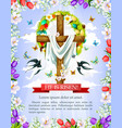 easter cross with flower egg wreath greeting card vector image vector image