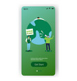 environmental activists holding poster save planet vector image vector image