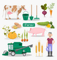 farm worker animals and plants set vector image vector image