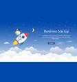 flat banner is written business startup cartoon vector image vector image