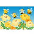 Flying honey bees vector image vector image