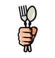 fork and spoon in hand symbol cooking restaurant vector image vector image