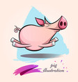 funny cute crazy cartoon characters pig symbol vector image vector image