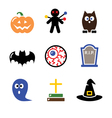 Halloween black icons set - pumpkin witch ghost vector image vector image