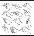 hand holding pen black and white set vector image
