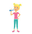Happy girl with bottle of water vector image