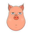 head of annoyed pig in cartoon style kawaii vector image vector image