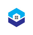 hexagon windows housing logo vector image vector image