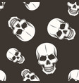 human skull seamless pattern white on dark vector image vector image