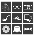Icons with set hipster items vector image vector image