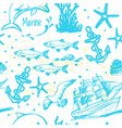 ink hand drawn marine world seamless pattern vector image vector image