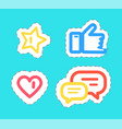 like and thumb up stickers set isolated vector image