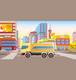 lorry in city transportation cargo in town vector image