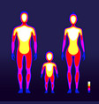male and female body warmth in infrared spectrum vector image vector image