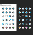 media player icons light and dark theme vector image