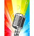 Microphone with colorful rays background vector image