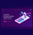 mobile chatbot app isometric landing page banner vector image