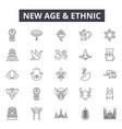 new age and ethnic line icons signs set vector image