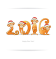 New Year card with monkey in Santa hat vector image vector image