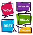 paper speech bubbles with emotional words thanks vector image vector image