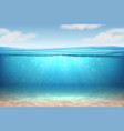 realistic underwater background ocean deep water vector image