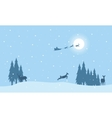 Reindeer and train Santa on sky landscape vector image vector image