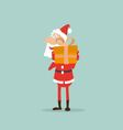 Santa Claus holds in his hands a box with a gift vector image vector image