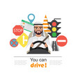 set of road symbols and driver arab men character vector image