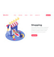 shopping landing page isometric template e vector image vector image