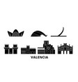 spain valencia flat travel skyline set spain vector image vector image