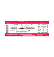 train pass ticket isolated on white background vector image vector image