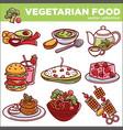 vegetarian food dishes or vegan veggie menu vector image vector image