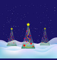 winter christmas landscape snowy night xmas tree vector image