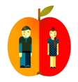 Young Graphic Couple and Apple vector image