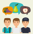 young men with fruits healthy food vector image vector image
