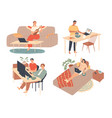 young people spend their free time at home vector image