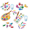 painting set with brush and palette vector image