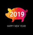 2019 new year card origami boar vector image vector image