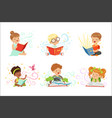 adorable little boys and girls sitting and reading vector image vector image